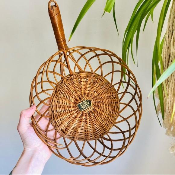 Vintage Handled Basket Open Weave Wall Decor